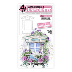 Watercolor Ornate Window, Art Impressions Clear Stamps -