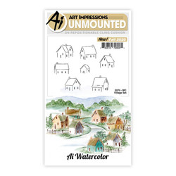 Watercolor Village, Art Impressions Clear Stamps -