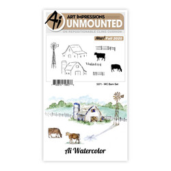 Watercolor Barn, Art Impressions Clear Stamps -
