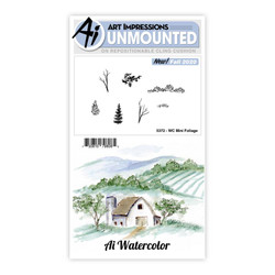 Watercolor Mini Foliage, Art Impressions Cling Stamps -