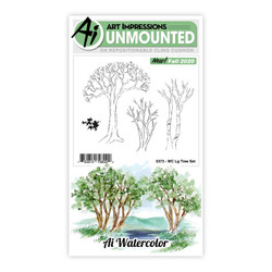 Watercolor Large Tree, Art Impressions Cling Stamps -