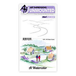 Watercolor Basic Scene, Art Impressions Clear Stamps -
