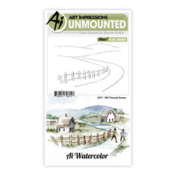 Watercolor Fenced Scene, Art Impressions Clear Stamps -