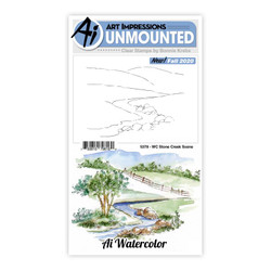 Watercolor Stone Creek Scene, Art Impressions Clear Stamps -