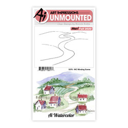 Watercolor Winding Scene, Art Impressions Clear Stamps -