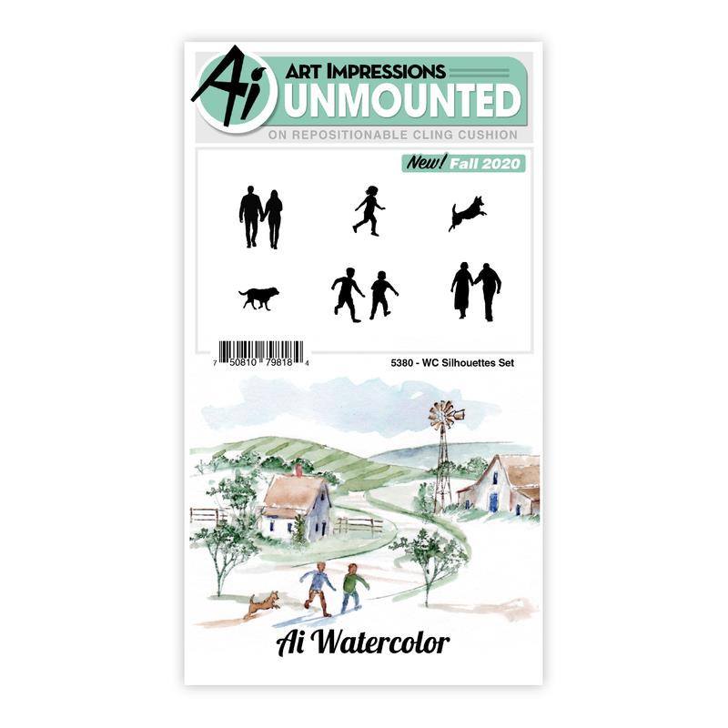 Watercolor Silhouettes, Art Impressions Cling Stamps -