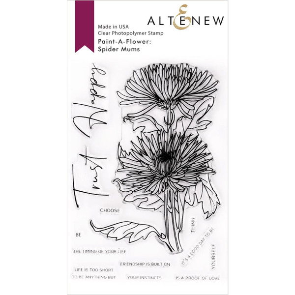 Paint-A-Flower: Spider Mums Outline, Altenew Clear Stamps - 737787271131