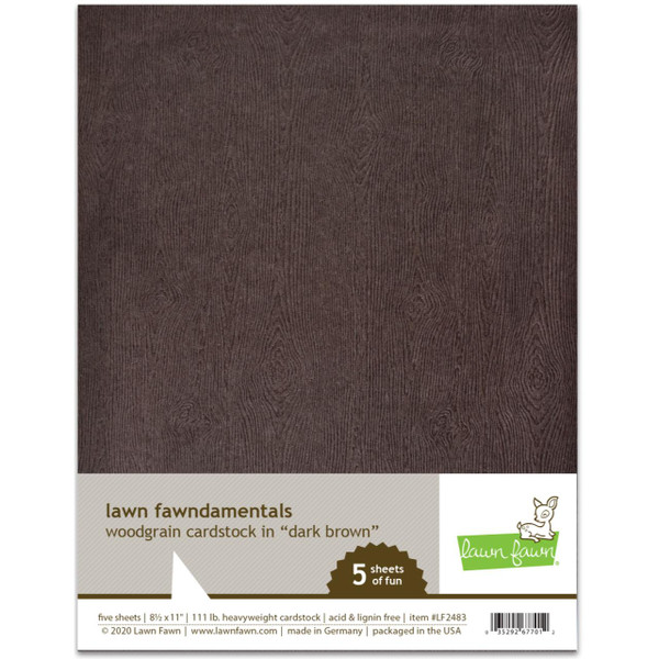 Woodgrain Cardstock - Dark Brown, Lawn Fawn Cardstock - 035292677012