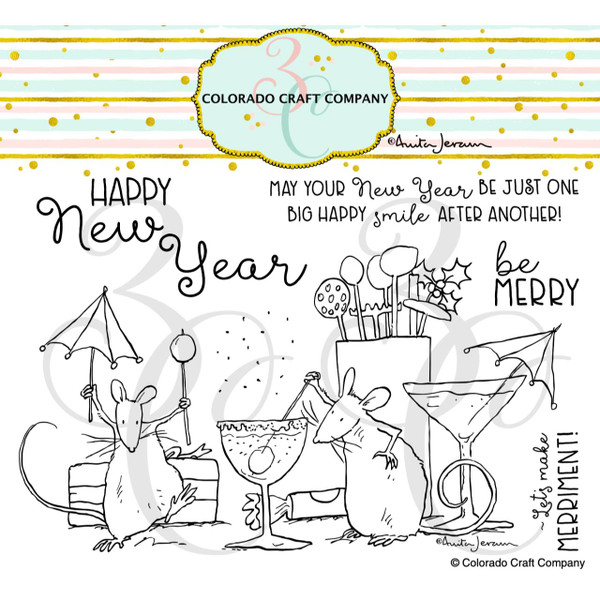 Party Time by Anita Jeram, Colorado Craft Company Clear Stamps - 810043854078
