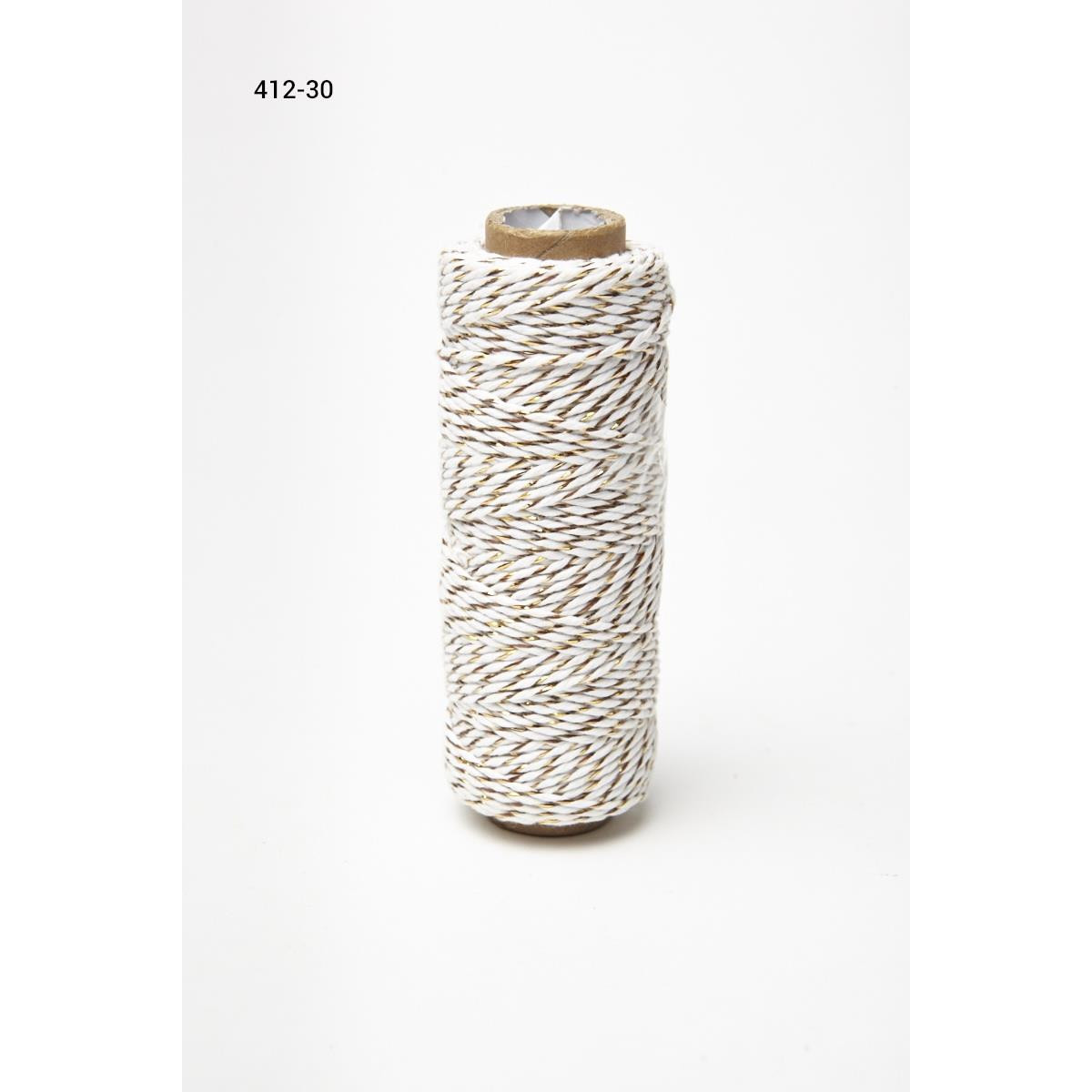 Baker's Twine Twisted Ribbon - White/Gold, May Arts - 848208007533