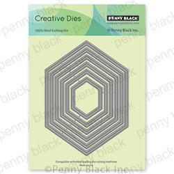 Hexagon Frames, Penny Black Dies -