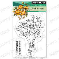 Fresh Flowers, Penny Black Cling Stamps -