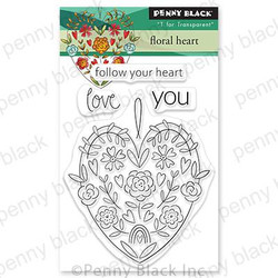 Floral Heart, Penny Black Cling Stamps -