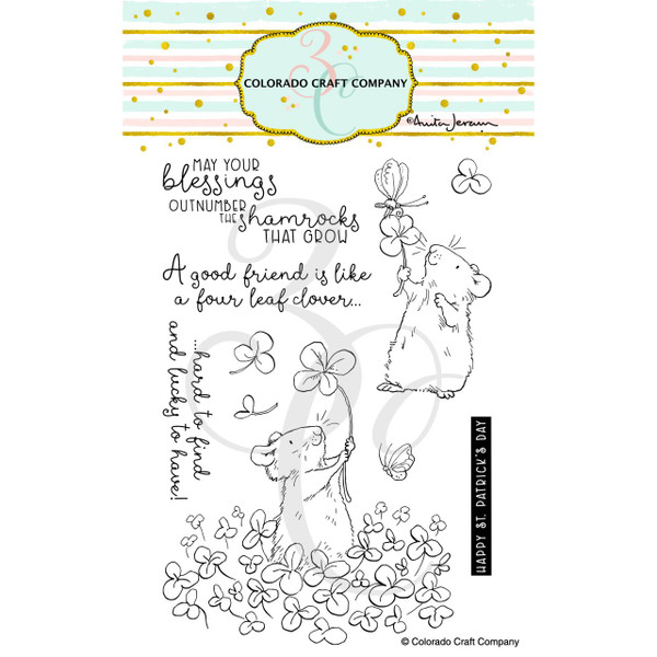 4 Leaf Clover by Anita Jeram, Colorado Craft Company Clear Stamps -