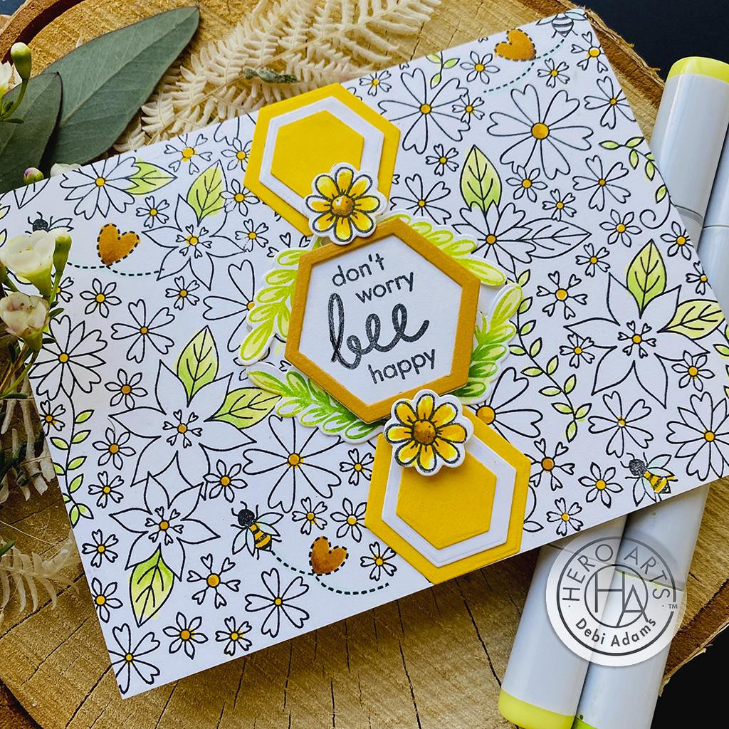 Bees and Flowers Bold Prints, Hero Arts Cling Stamps -