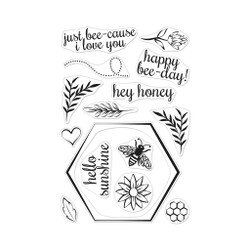 Bee and Flowers Wreath, Hero Arts Clear Stamps -