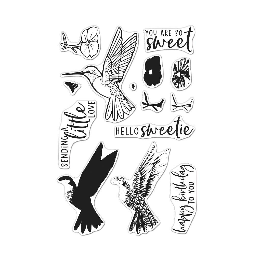 Color Layering Hummingbird, Hero Arts Clear Stamps -
