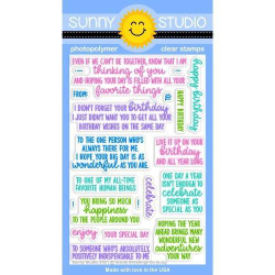 Inside Greetings Birthday, Sunny Studio Clear Stamps -