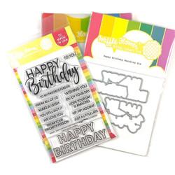 Happy Birthday, Waffle Flower Stamp & Die Combo -