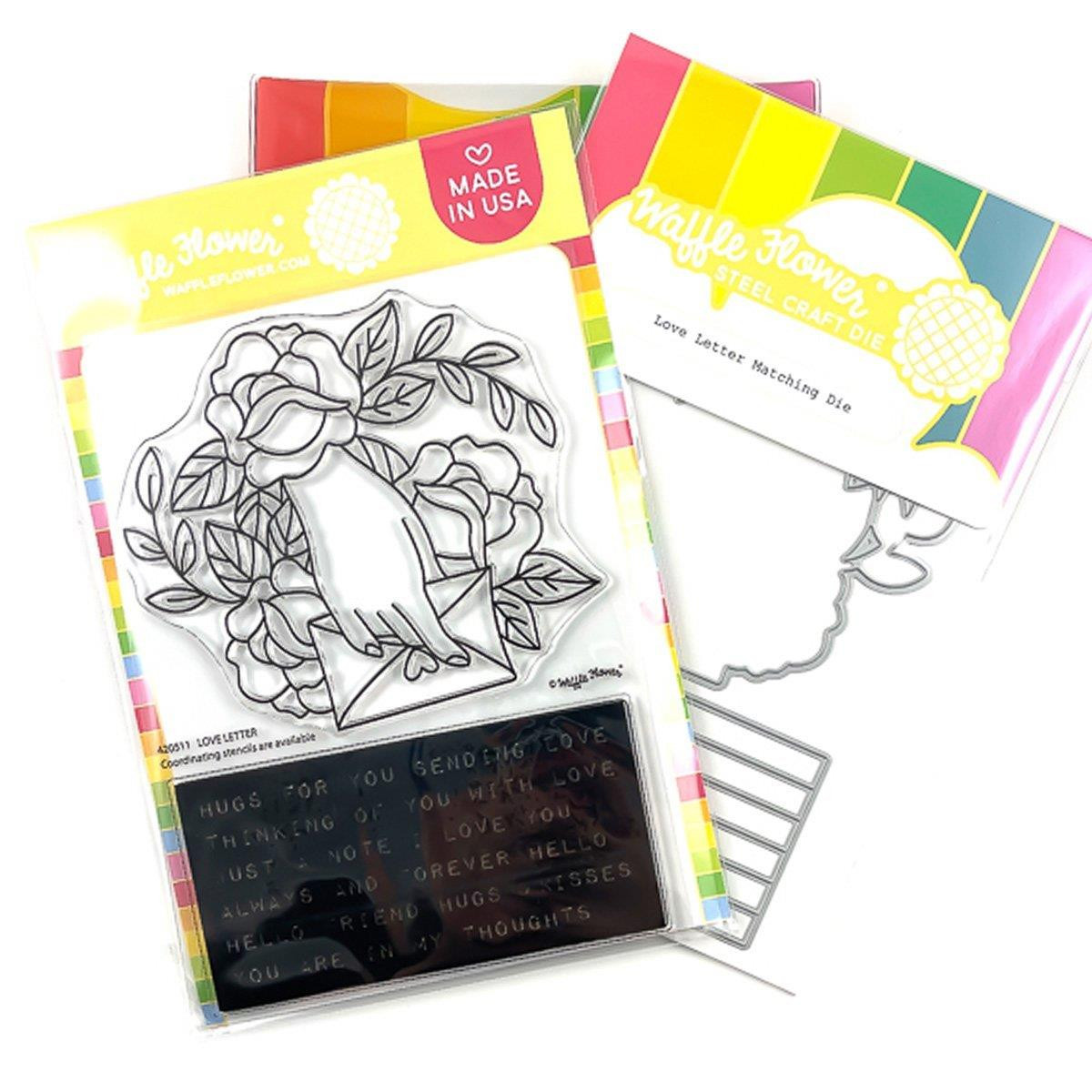 Love Letter, Waffle Flower Stamp & Die Combo -