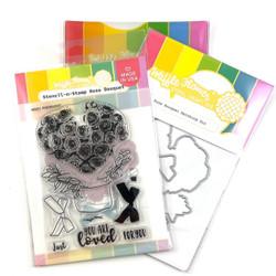 Rose Bouquet, Waffle Flower Stencil-n-Stamp & Die Combo -