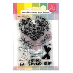 Rose Bouquet, Waffle Flower Stencil-n-Stamp -