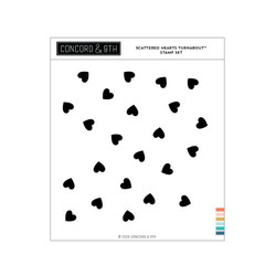 Scattered Hearts Turnabout, Concord & 9th Clear Stamps -