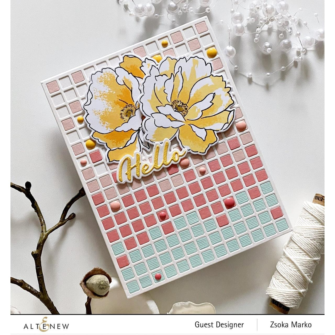 Airbrushed Flowers, Altenew Clear Stamps -