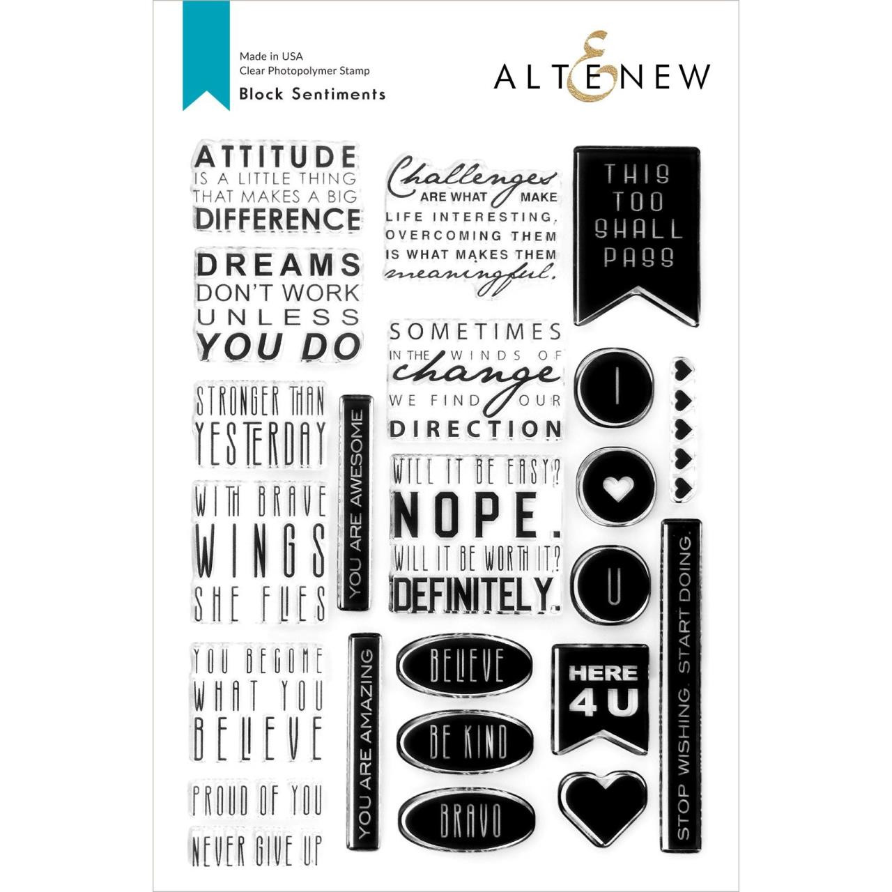 Block Sentiments, Altenew Clear Stamps -