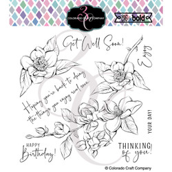 Thinking of You Magnolias, Colorado Craft Company Clear Stamps -