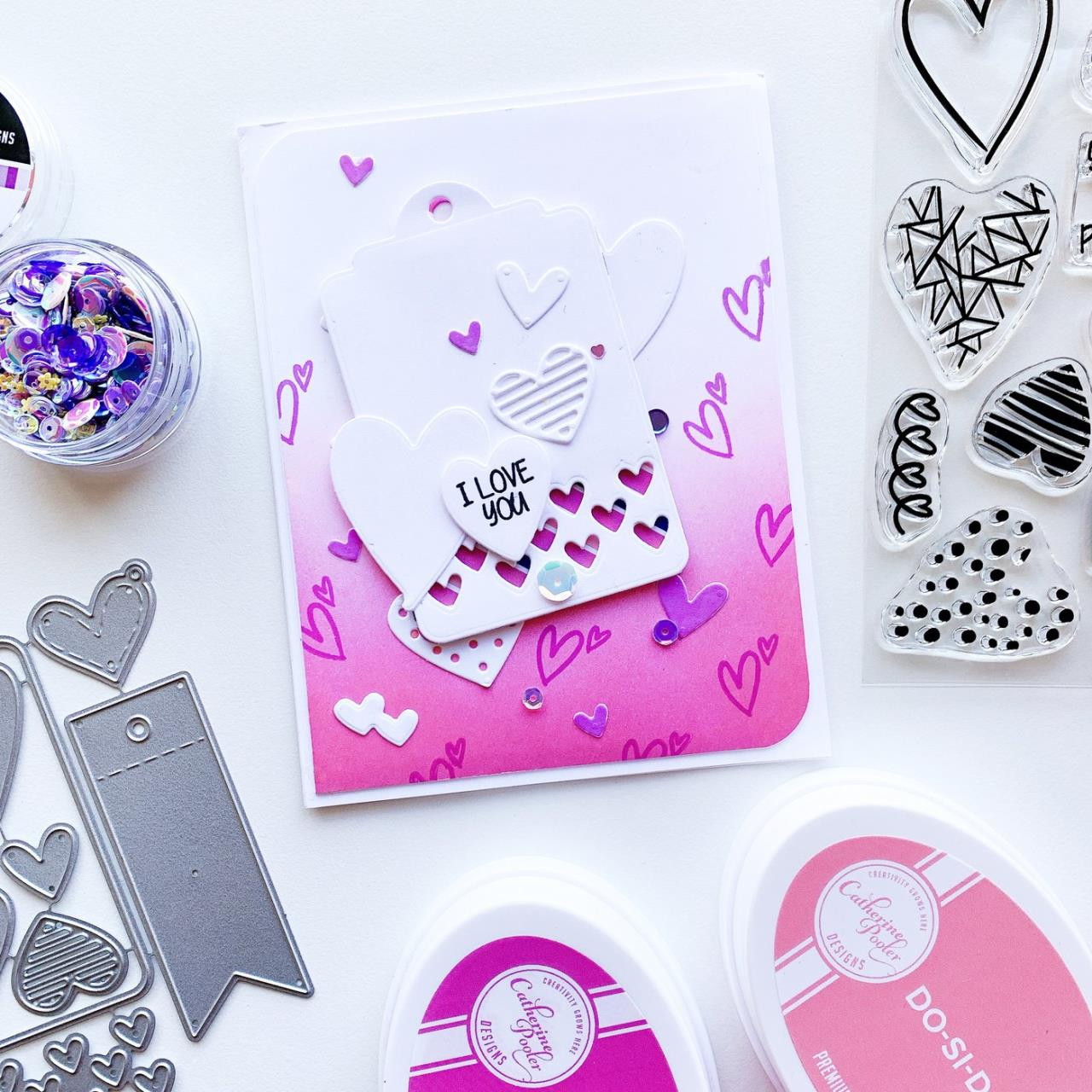 Hip Hearts, Catherine Pooler Clear Stamps -