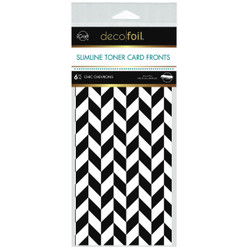 iCraft Deco Foil Slimline White Toner Card Fronts, Chic Chevrons -