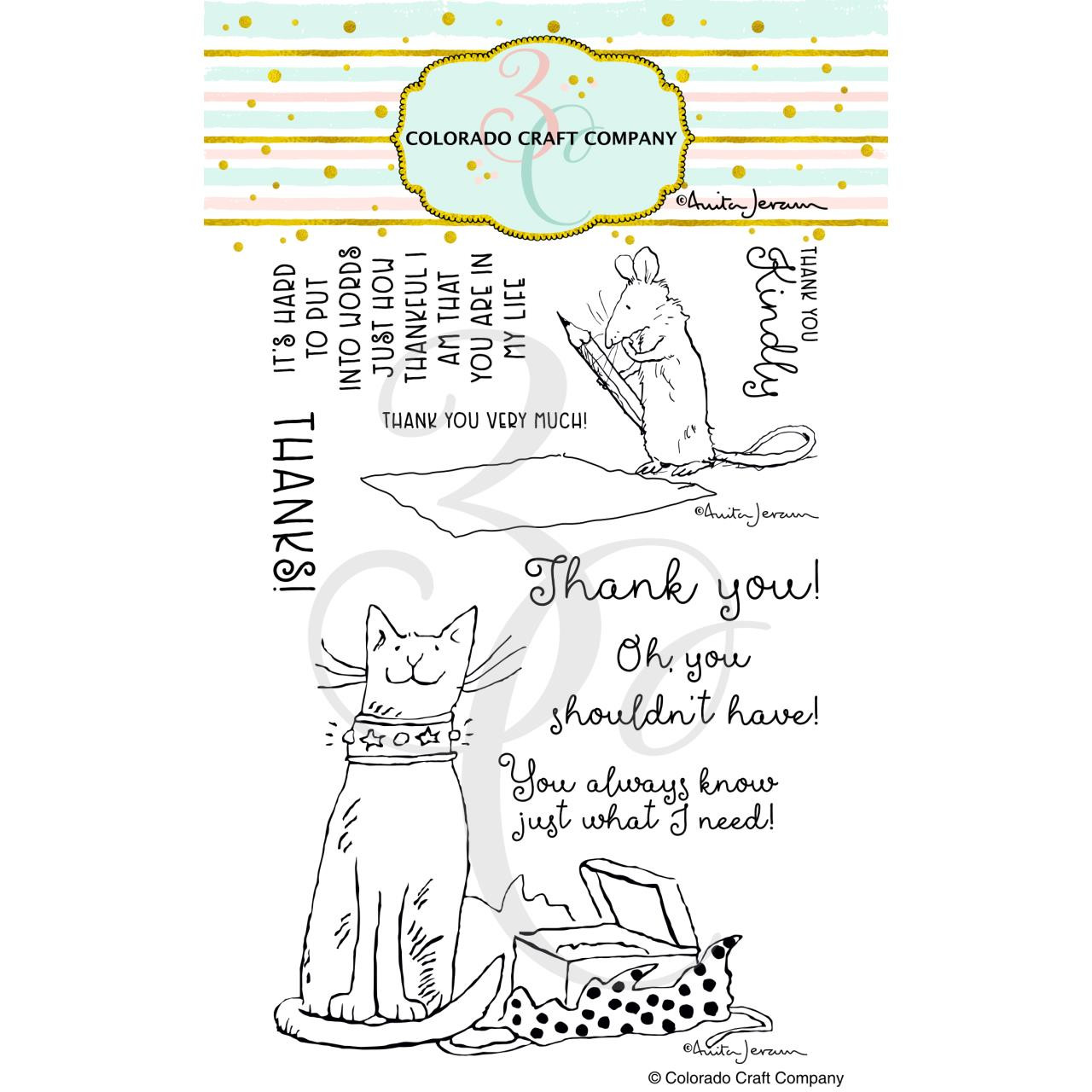 Thank You Kindly by Anita Jeram, Colorado Craft Company Clear Stamps -