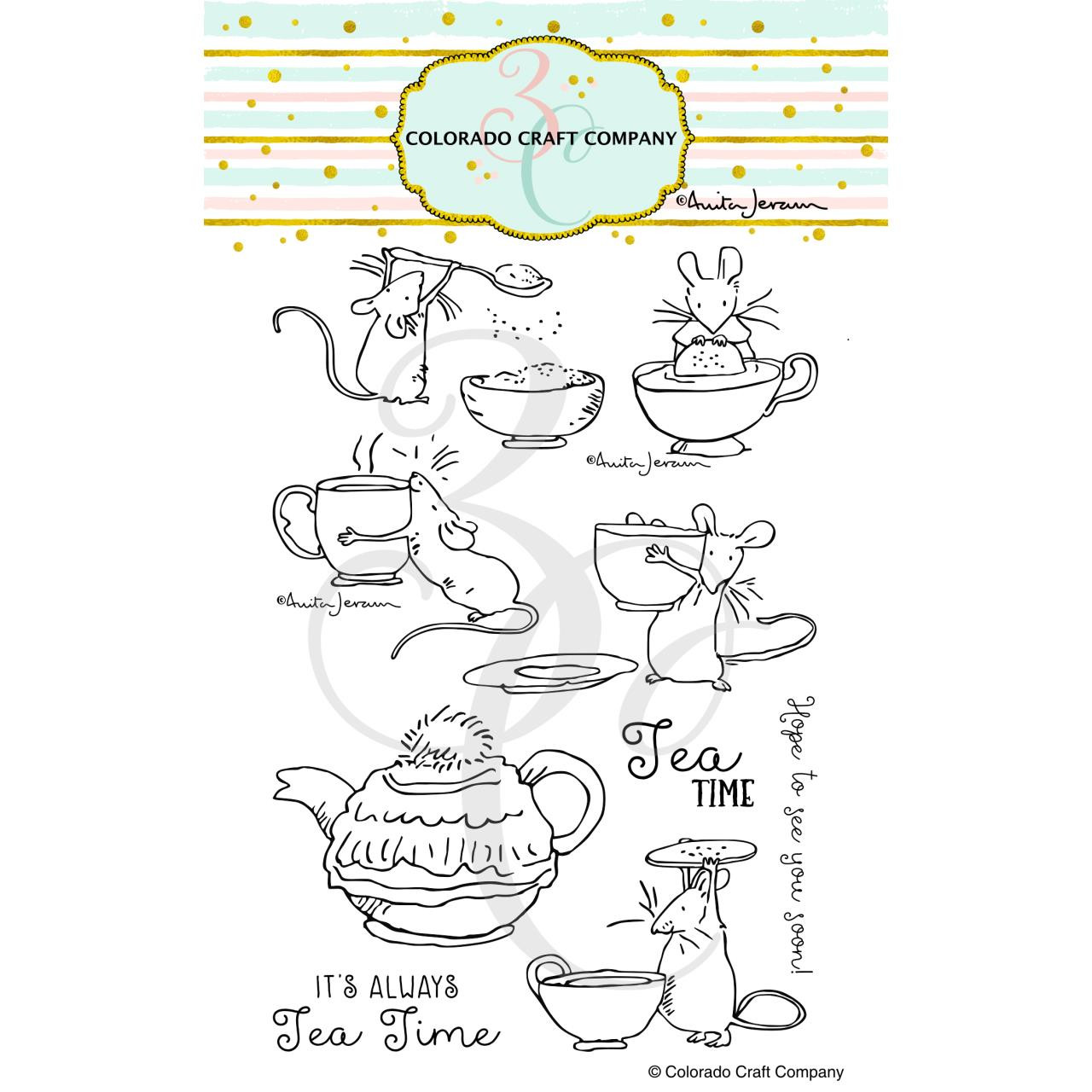 Tea Time Fun by Anita Jeram, Colorado Craft Company Clear Stamps -