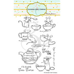 Tea Time Fun by Anita Jeram, Colorado Craft Company Clear Stamps -