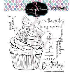 Citrus Berry Cupcake, Colorado Craft Company Clear Stamps -