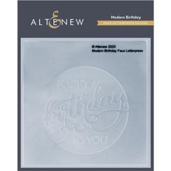 Modern Birthday Faux Letterpress, Altenew Debossing Folder -