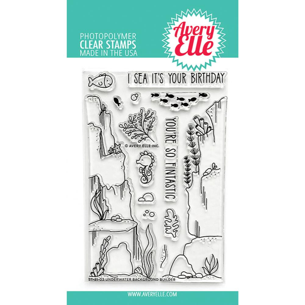 Underwater Background Builder, Avery Elle Clear Stamps -