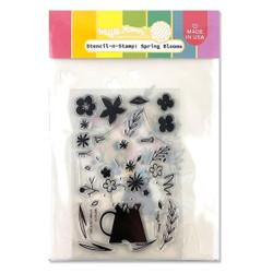 Spring Blooms, Waffle Flower Stencil-n-Stamp -
