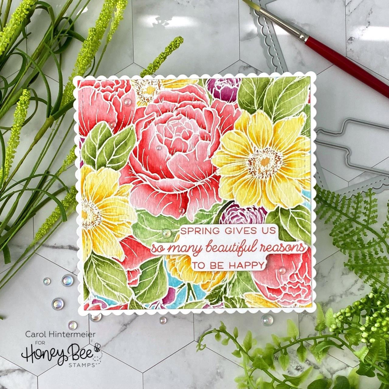 Spring Blooms Background, Honey Bee Clear Stamps -