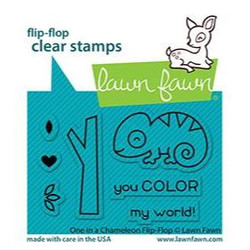 One in a Chameleon Flip-Flop, Lawn Fawn Clear Stamps -