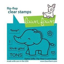 Elphie Selfie Flip-Flop, Lawn Fawn Clear Stamps -