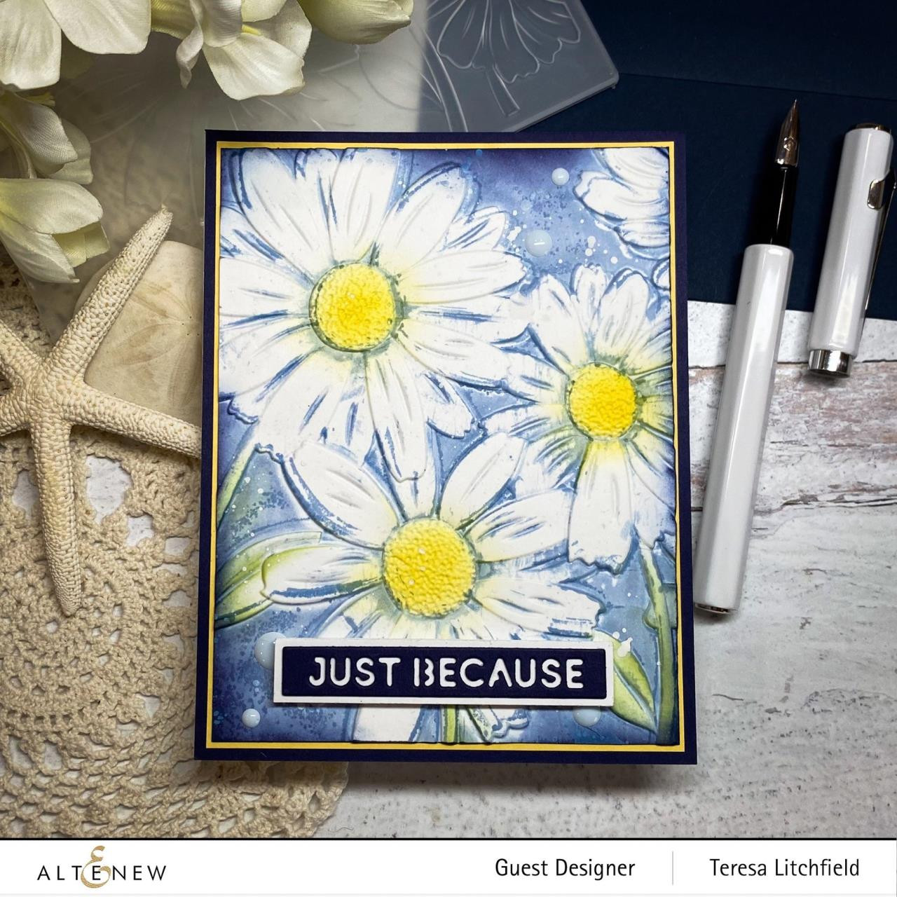 Daisies 3D, Altenew Embossing Folder -