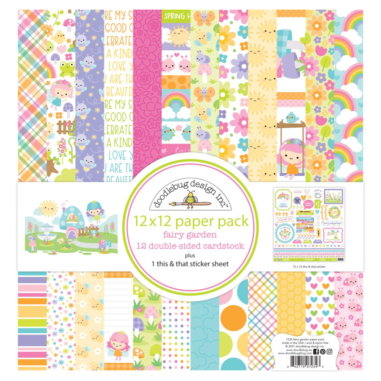 Fairy Garden, Doodlebug 12 X 12 Paper Pack -