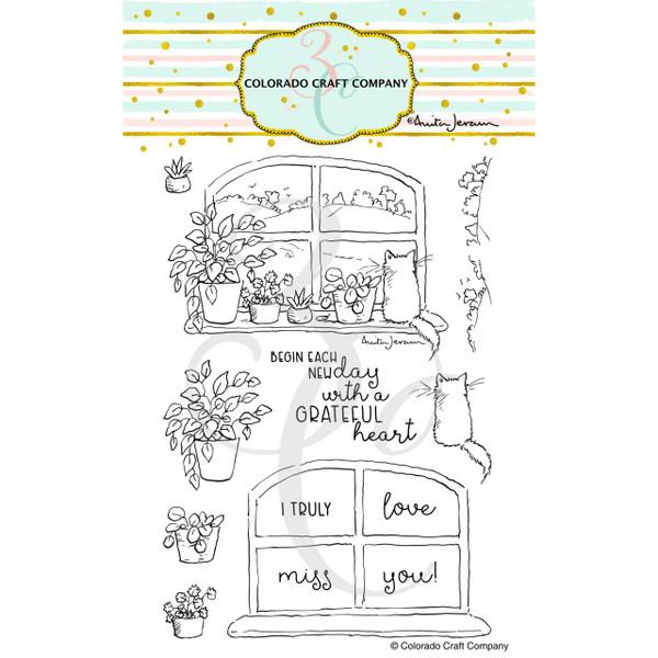 New Day Windowsill by Anita Jeram, Colorado Craft Company Clear Stamps -