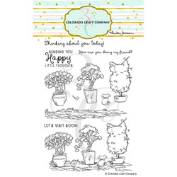 Topiaries & Kitten by Anita Jeram, Colorado Craft Company Clear Stamps -