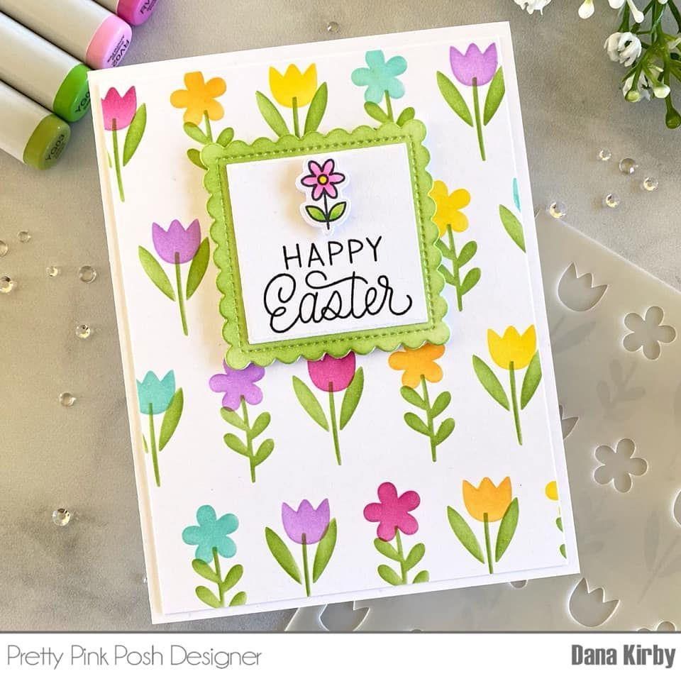 Spring Flowers, Pretty Pink Posh Stencils -