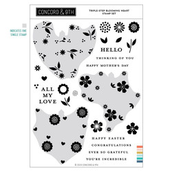 Triple-Step Blooming Heart, Concord & 9th Clear Stamps -