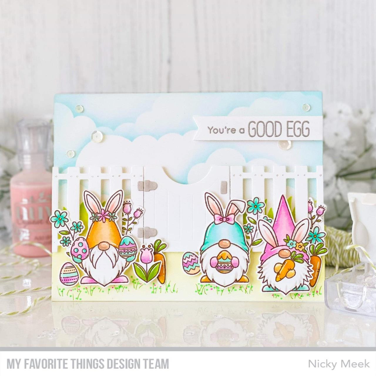 Spring Gnomes by Birdie Brown, My Favorite Things Clear Stamps -