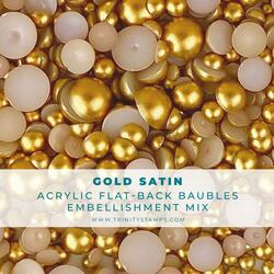 Gold Satin Baubles, Trinity Stamps Embellishments -
